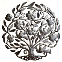 Garden Tree of Life Haiti Metal Art with birds and floral