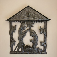 Haiti metal nativity Fair Trade Federation Metal Art Nativity in a manger