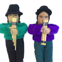 """Bolivian Andean Doll with Flute 4.5"""""""