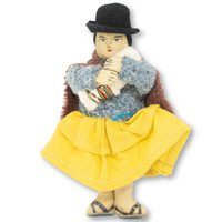 "Bolivian Doll, Cholita holding a Baby with Bowler Hat 5"" x 2"" 1.5"""