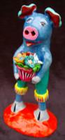 "Ortega Pig, Holding a Pot of Bright Colorful Flowers10.5"" x 4.5"" x 6.5""  Ortega 46"