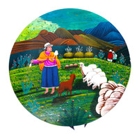 "Tigua Ecuador Hand Painted Stool 11.75"" x 10.5"" x 22.75"""