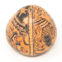 """Hand Carved Gourd Nativity and LLamas 4.5"""" x 4"""""""
