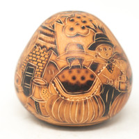 "Hand Carved Gourd Nativity and LLamas 4.5"" x 4"""