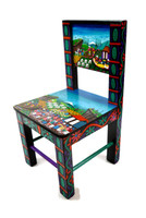 "Tigua Folk Art Children's Chair 9.75"" x 10.25"" x 19.5"""