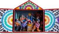 Ayacucho Peru Nativity Retablo Hand Sculpture potatoes and plaster