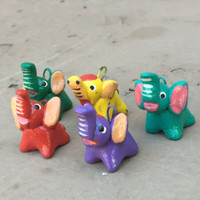 bright colorful elephant beads hand painted in Guatemala