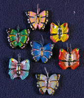 Butterflies, Hand Painted Clay Charms, Beads Guatemala