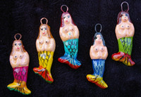Mermaid hand Painted Clay Charms, Beads Guatemala