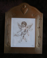 ETCHED TIN ANGEL MEXICO SIGNED