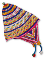 vintage Andean Peruvian Bolivian chullo made from colorful alpaca wool