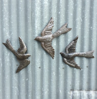 RECYCLED METAL WALL ART BIRDS IN FLIGHT