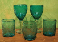 Etched Mexican Glass Verde Stemless Wine
