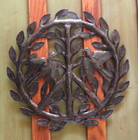 Haiti metal peace sign with birds