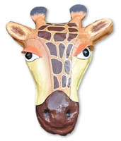 Giraffe head, paper mache, Handmade from recycled materials, the form is crafted from recycled cement sacks, cardboard.  Handmade in Haiti.