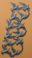 """Birds in Flight, Wall Hanging Steel Drum Sculpture 14"""" x 34"""""""