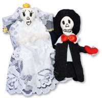 day of the dead finger puppets bride and groom, Peru