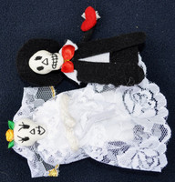 day of the dead finger puppets bride and groom