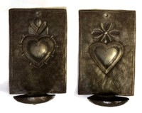 """New Metal Heart Wall Sconce Candle Holder, """"Milagros"""" design Crafted in Haiti 4"""" x 6"""" x 3"""" (candles not included)"""