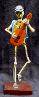 Skeleton day of the dead musician guitar player, Puebla Mexico