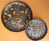 mermaid sea bowl, fruit bowl, centerpiece, Haiti Meta Art