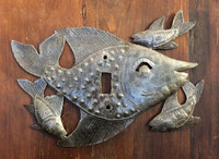 Swimming Fish Switch Plate Cover, Sturdy Metal