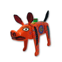 """Hand Carved Pig Candle Holder, Wooden Animals from Guatemala 14"""" x 8"""""""