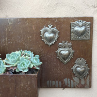 Milagro Heart, Set of 4,Haitian Metal , Recycled Art, Spring collection Valentines Day Hearts