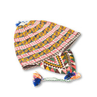 """This vintage Andean Peruvian Bolivian ch'ullo colorful alpaca wool knit ear-flap folk hat dates from the mid 20th century. Bolivian ch'ullo style knit hat has ear-flaps for warmth and is missing the tie strap to secure under the chin.  24.5"""" from top to ear-flaps 10"""" width"""