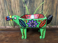 "Hand Carved Green  Animal Bowl, Home Decor, Hand painted in Guatemala 11"" x 5.5"""