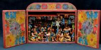 peruvian retablo vegtable stand, mercado, fruit market