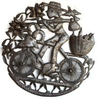 Farmer riding a bike fruit on the back - Haiti metal art