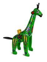 "Hand Carved Green Giraffe Candle Holder 13.5"" x 12"""