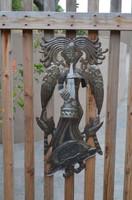 Angel playing music, it's cactus metal art haiti REC155, patio, garden collection