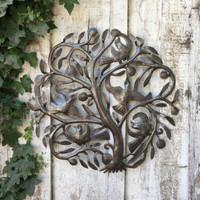 "Tree of Life, Garden Metal Wall Art Haiti 23"" X 23"""