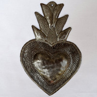 flaming heart for your Valentine Date, Haiti Art, It's Cactus