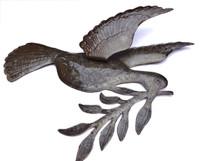 """Dove of Peace Recycled Metal Art from Haiti 17"""" X 17.5"""", Indoor Garden Bird"""