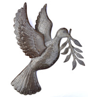 """Dove of Peace Recycled Metal Art from Haiti 17"""" X 17.5"""""""