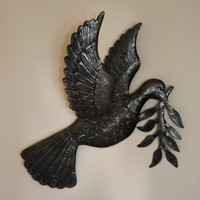 """Dove of Peace Recycled Metal Art from Haiti 17"""" X 17.5"""", World Unity Metal Symbol"""