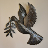 "Dove of Peace, World Unity, Recycled Metal Art, SM715 Haiti 17"" X 17.5"", garden bird"