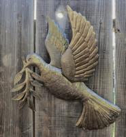 "Dove of Peace, World Unity, Recycled Metal Art, SM715 Haiti 17"" X 17.5"", world peace bird"
