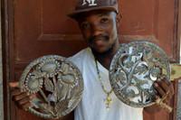 "Sunflowers and Hummingbirds Recycled Garden Wall art from Haiti  SM712, 10.5"" X 10.5"", Fair Trade"