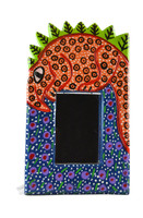 "Guatemalan Small Wall Mirror, Hand Carved Iguana 6.5"" x 10"""
