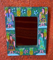 "Whimsical Hand Painted Mirror  7"" x 8.5"""