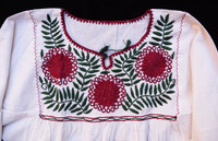 Hand Embroidered Mexican Blouse Puebla