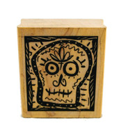 """Sugar Skull Day of the Dead Rubber Stamp 2"""""""