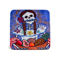 "Day of the Dead Catrina Coaster 4"" x 4"""