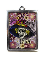 pewter and pressed flowers catrina day of the dead decor
