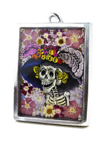 "Catrina, Mexican Pewter Cast with Dried Flowers in Resin 3.25"" x 4.5"""