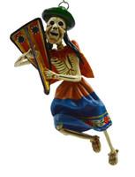 """Skeleton Hanging Ornament Playing the Arp, Peru Retablo 6"""""""